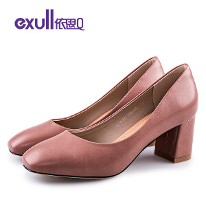 依思q春季新款时尚芭蕾方头女鞋粗跟高跟套脚单鞋女