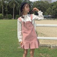 春装新款女装韩版学生新款荷叶边中长款背心裙连衣裙背带裙潮
