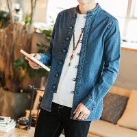 新款2018秋冬复古时尚民族风男士中国风大码宽松牛仔衬衫夹克外套