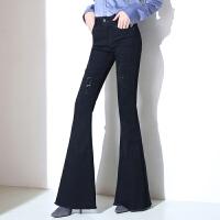 2017新款秋季修身显瘦破洞大喇叭牛仔女裤韩版高腰长裤