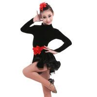 2019 儿童拉丁舞服表演服女童连衣裙金丝绒舞蹈练功长袖比赛演出服