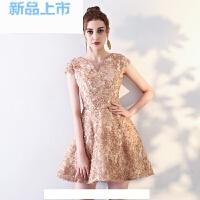 宴会晚礼服2018优雅V领短款鱼尾修身主持人结婚小礼服连衣裙