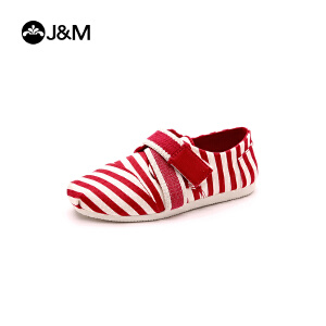 【低价秒杀】jm快乐玛丽春季新品时尚平底童鞋复古条纹休闲亲子鞋