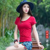 中国风女装上衣 夏季新款刺绣短袖民族风圆领绣花T恤女打底衫