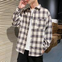 新款格子长袖男衬衫格子韩版潮流帅气青少年学生休闲衬衣男寸衣