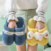 新款冬季家居室内保暖情侣拖鞋秋冬男女软底防滑布艺加绒棉拖鞋