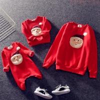 儿童加绒卫衣亲子装加绒毛毛布圣诞老人圆领 红色