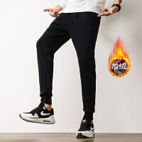 加绒运动裤男宽松加厚卫裤冬季休闲大码哈伦裤韩版潮流保暖长裤子