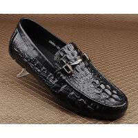 CUM 鳄鱼纹压花豆豆鞋男新款英伦男鞋驾车鞋潮流套脚鞋男士休闲鞋