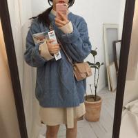秋冬韩版宽松纯色长袖针织衫上衣复古百搭chic套头毛衣外套女学生