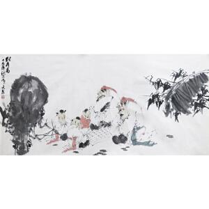 刘寒天 《对弈图》著名画家刘郑公之子 有作者本人授权
