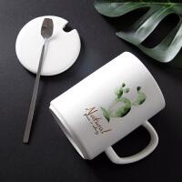 情侣一对马克杯带盖勺简约创意潮流水杯陶瓷家用办公室
