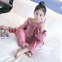 儿童睡衣女童冬装新款2018珊瑚绒家居服小孩秋冬季法兰绒长袖套装