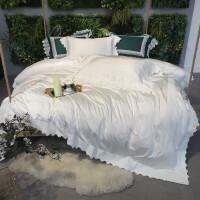 高端棉蕾丝四件套 白欧式公主风样板房床上用品 ZYJ伊芙丽珍珠白四件套