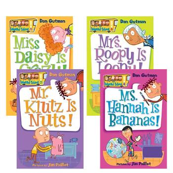 现货正版 英文原版 My Weird School Collection 1-4 books 疯狂学校1-4册盒装 美国中小学生推荐课外阅读章节书 送音频