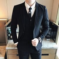 18秋冬装男士韩版修身上班西服套装潮流青年免烫休闲西装三件套