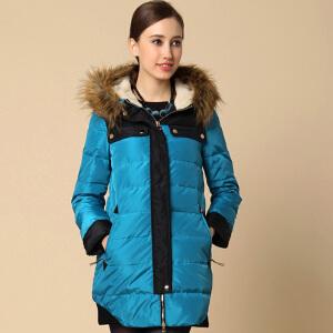 yaloo/雅鹿女冬装仿羊羔毛相拼色毛领外套韩版修身中长款羽绒服