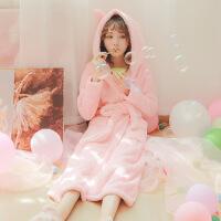 珊瑚绒睡袍女冬浴袍加厚加长款秋冬韩版保暖甜美可爱睡衣长款冬天