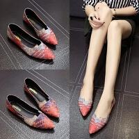 韩版春夏季新款尖头平底鞋女单鞋平跟浅口四季鞋简约拼色女鞋