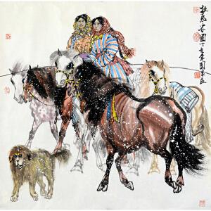 吴团良《牧马少女图》
