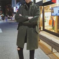 新款秋冬季男士立领毛呢大衣韩版潮男中长款宽松显瘦呢子风衣时髦