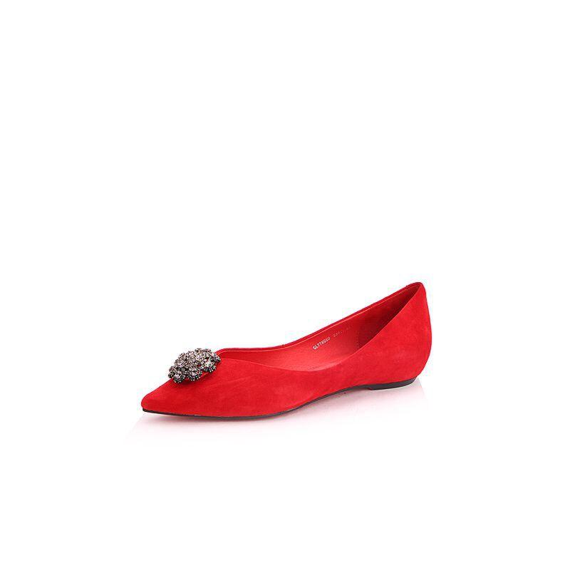 Belle/百丽2017秋时尚精致羊绒皮尖头女浅口鞋77802CQ7