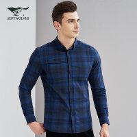 七匹狼衬衫 秋冬男士青年时尚商务休闲格型长袖休闲衬衫男装
