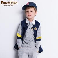 【3件4折 到手价:183元】 Pawinpaw卡通小熊童装新款秋男童长袖T恤翻领Polo衫撞色潮