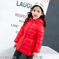 儿童棉衣宝宝冬装中长款腰带羽绒男女童棉袄轻薄外套