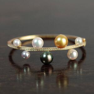 14k金镶嵌深海多色珍珠手镯