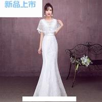 主持人白色晚礼服2018V领宴会时尚鱼尾礼服长款优雅女