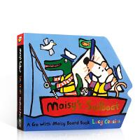 进口英文原版正版 Maisy's Sailboat 小鼠波波的帆船水上交通工具Lucy Cousins纸板造型书低幼儿