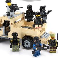 消防反恐坦克武器男孩玩具 人仔军事武器拼装积木玩具城市