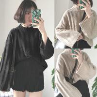 半高领毛衣女宽松慵懒麻花针织衫套头宽松粗线毛衣外套胖mm200斤