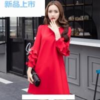 孕妇装秋装2018新款大红色连衣裙礼服时尚潮妈中长款长袖怀孕期