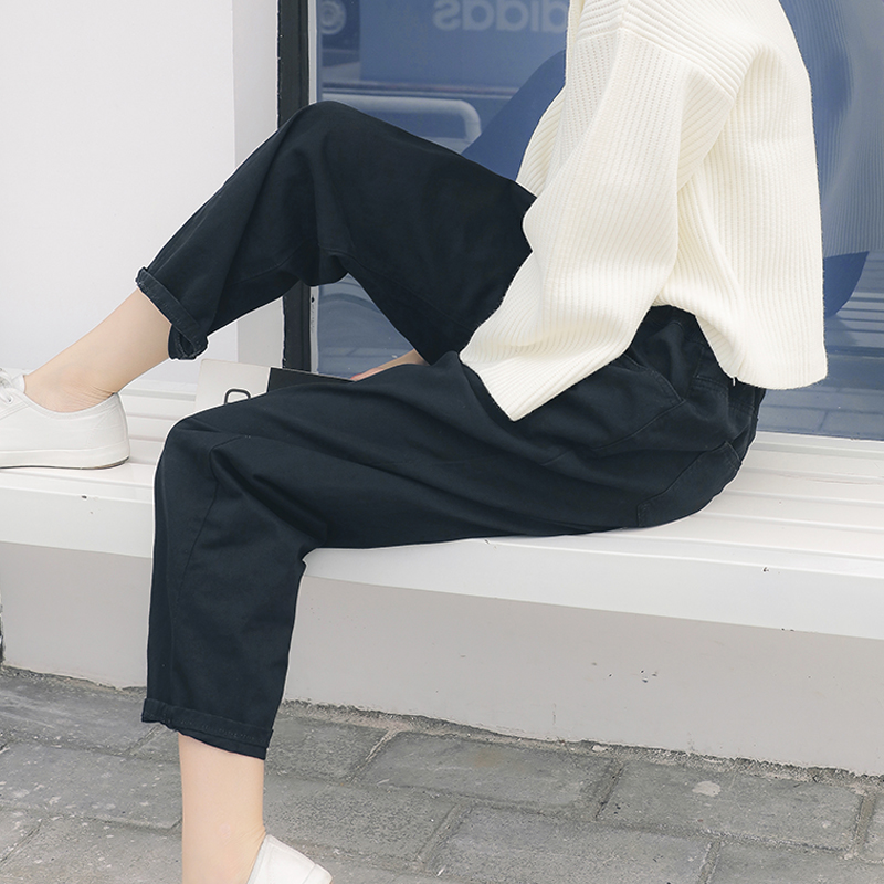白色宽松牛仔裤女2018春夏季高腰直筒长裤九分哈伦原宿bf风阔腿裤 发货周期:一般在付款后2-90天左右发货,具体发货时间请以与客服协商的时间为准
