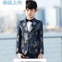 男童西装男孩走秀钢琴表演服小西装花童礼服男印花西装套装