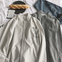 春季新款条纹衬衫男长袖宽松韩版学生bf清新日系青年尖领条纹衬衣