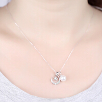 七度品尚日韩甜美新款925纯银吊坠星星月亮天然珍珠项链女锁骨链礼物女友