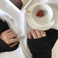 冷淡风小食指情侣一对戒戒指女日韩潮人学生个性简约百搭网红J020 J006 4个装