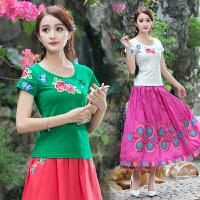 夏装新款 中国风女装刺绣上衣圆领打底衫民族风绣花短袖T恤女