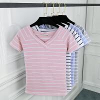 2018大v领条纹t恤女夏季短袖修身体恤半袖学生上衣打底衫