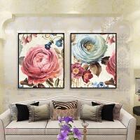 欧式玫瑰花卉钻石画方钻满钻手工十字绣砖石贴客厅贴结婚礼物贴画
