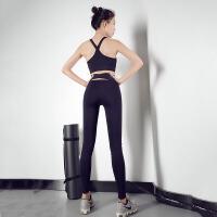 交叉健身裤女弹力紧身高腰运动裤速干裤黑色瑜伽裤打底裤外穿夏季