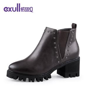 依思Q马丁靴铆钉粗跟高跟短靴子防水台潮流女靴-