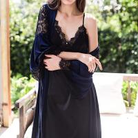 秋新品金丝绒睡袍睡裙两件套天鹅绒蕾丝拼接性感睡衣家居服 均码