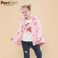 【秒杀价:195】Pawinpaw宝英宝卡通小熊童装冬季款女童棉服儿童连帽外套