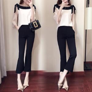 安妮纯2019新款女装春装韩版时髦套装洋气港风社会阔腿裤两件套女时尚夏