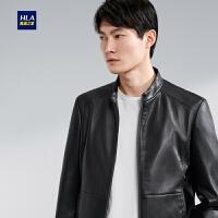 HLA海澜之家时尚净色PU茄克2020春季新品简约立领有型外套男