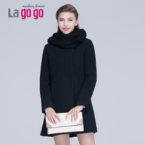 2015年冬季新款修身显瘦圆领毛呢大衣